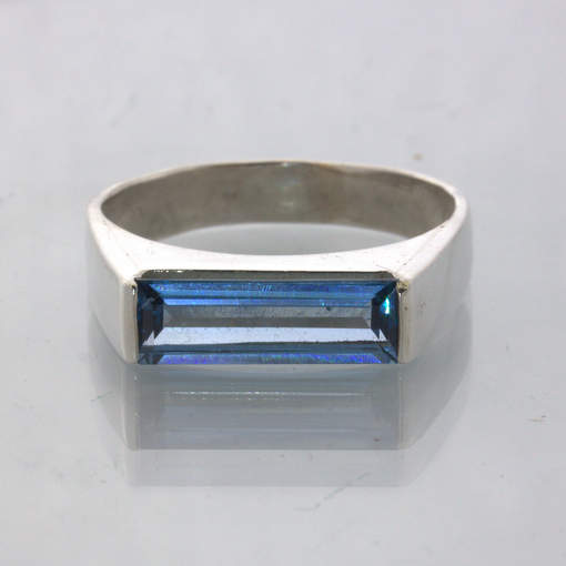 Light Blue Lab Spinel Solitaire Handmade 925 Silver Unisex Ring size 12 Design 2