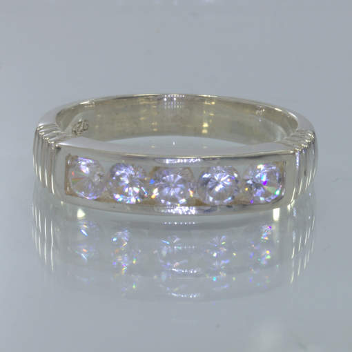 White Sapphire 3.5 mm Handmade Silver Unisex Channel Set Ring size 10 Design 6