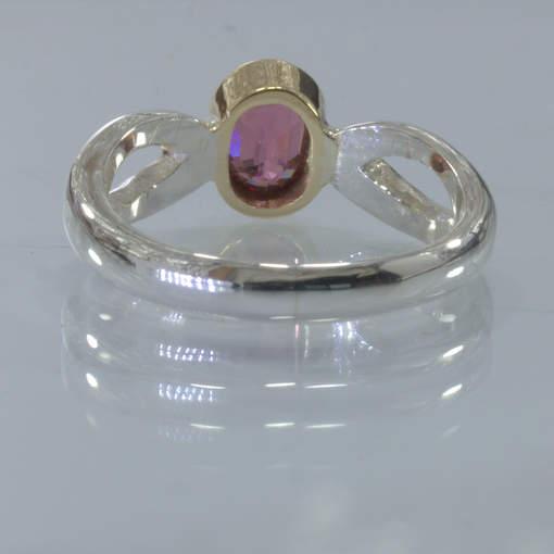 Red Malaya Garnet Handmade Silver Solid 18K Gold Bezel Ring size 7.25 Design 651