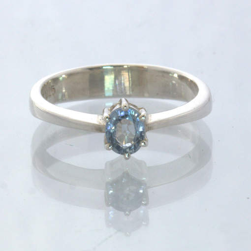Ceylon Blue Sapphire Handmade Silver Stackable Solitaire Ring size 6 Design 432