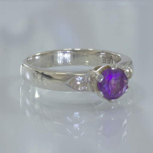 Purple Amethyst White Sapphire Handmade Silver Ladies Ring Size 6.75 Design 190