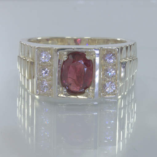 Red Spinel White Sapphire 925 Silver Watchband Style Ring Size 10.75 Design 650