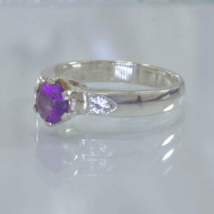 Purple Amethyst White Sapphire Handmade Silver Ladies Ring Size 6.75 Design 190