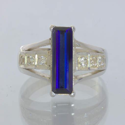 Lab Blue Sapphire White Sapphires 925 Silver Statement Ring size 9.75 Design 500