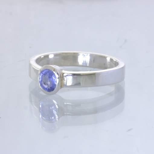 Blue Burma Sapphire No Heat Gemstone 925 Silver Stacking Ring size 7 Design 530