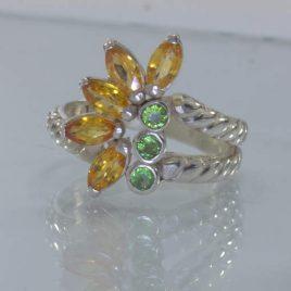 Orange Sapphire Green Garnet Handmade 925 Ladies Floral Ring Size 7.5 Design 222