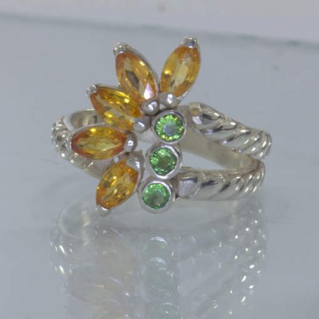 Orange Sapphire Green Garnet Handmade 925 Ladies Floral Ring Size 7.5 Design 222
