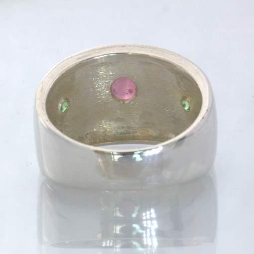 Pink Tourmaline Green Tsavorite Garnet 925 Silver Ring size 6.75 Wide Design 433