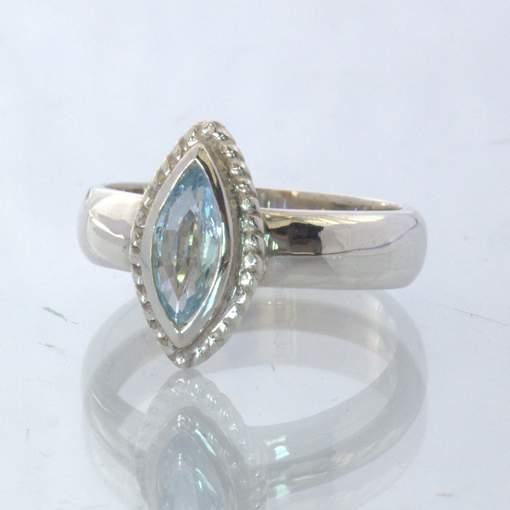 Aquamarine Light Blue Marquise Gem Handmade 925 Silver Ring size 5.75 Design 388