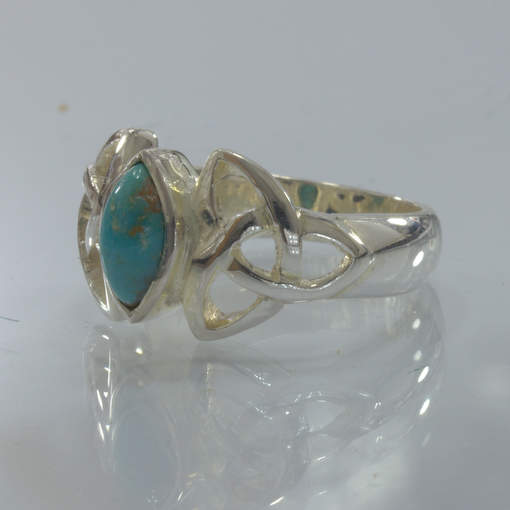 American Turquoise 925 Silver Infinity Symbol Celtic Knot Ring size 8 Design 328