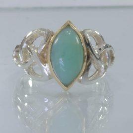 Australian Blue Opal Silver 18K Gold Celtic Infinity Ring size 9.75 Design 328