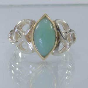 Australian Blue Opal Silver 18K Gold Celtic Infinity Ring size 9.75 Design 328