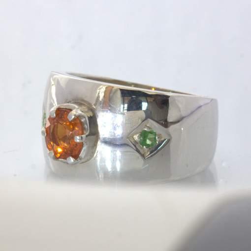 Orange Spessartite Green Tsavorite Garnet Silver Wide Ring size 7.25 Design 433