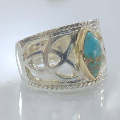 American Turquoise Handmade Silver 18K Gold Infinity Ring size 10.75 Design 525
