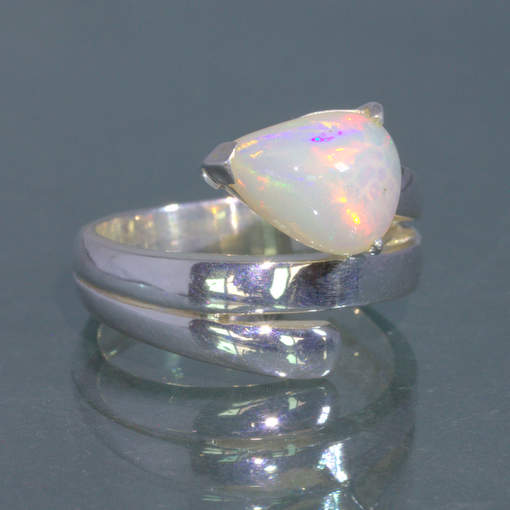 Welo Opal Untreated Stable Ethiopia Gem Handmade Silver Ring size 7.5 Design 15