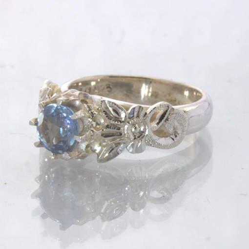 Color Change Lab Pink Blue Sapphire Silver Ring size 6.25 Flower Angel Design 34