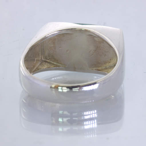 Blue Green African Amazonite Cab Handmade Silver Gents Ring size 11.5 Design 371