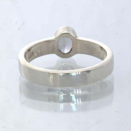 Blue Gray Iolite 925 Silver Stackable Solitaire Ring size 8 Stacking Design 530