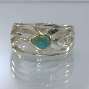 American Turquoise Silver 18K Yellow 750 Gold Ring size 6.75 Ajoure Design 534
