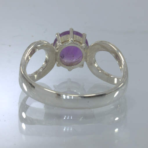 Purple Burma Amethyst Handmade Silver Solitaire Ajoure Ring size 8.75 Design 532
