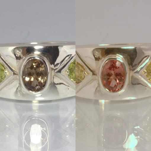 Color Change Garnet Mali Garnet Handmade Silver Ring size 9.25 Wide Design 26