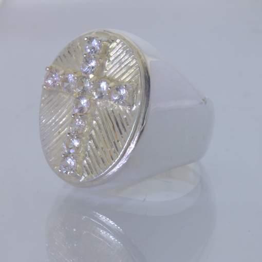 White Sapphire Christian Cross Handmade 925 Silver Gents Ring size 10 Design 427