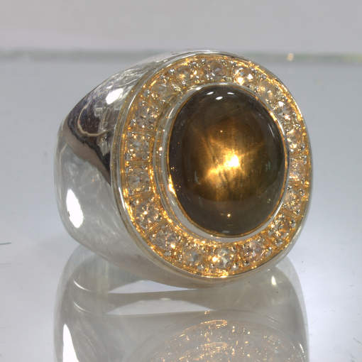 Star Black Sapphire White Sapphire Halo 925 Silver Gents Ring size 10 Design 150