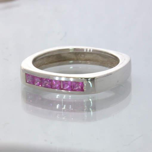 Pink Ceylon Sapphire Silver Unisex Channel Set Square Ring size 9.25 Design 107