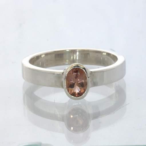 Oregon Sunstone Oval Gem Silver Stackable Solitaire Ring size 6.75 Design 530