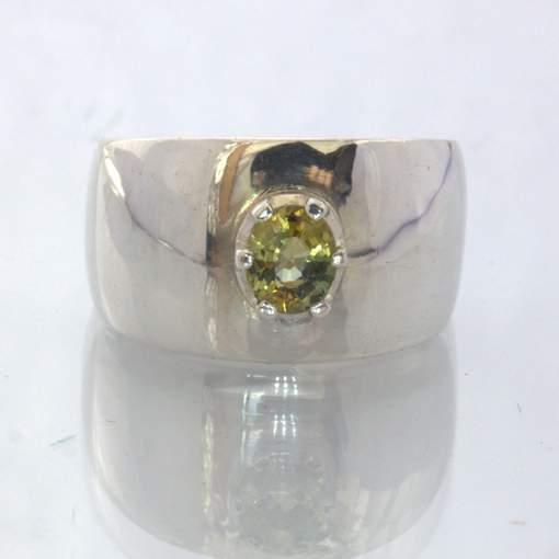 Yellow Green Ceylon Zircon Handmade Silver Gents Wide Ring size 6.5 Design 541