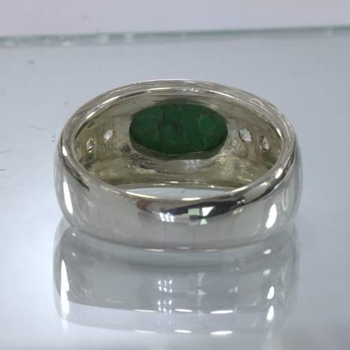 Green Maw Sit Sit White Sapphire Handmade 925 Silver Ring size 11.25 Design 429