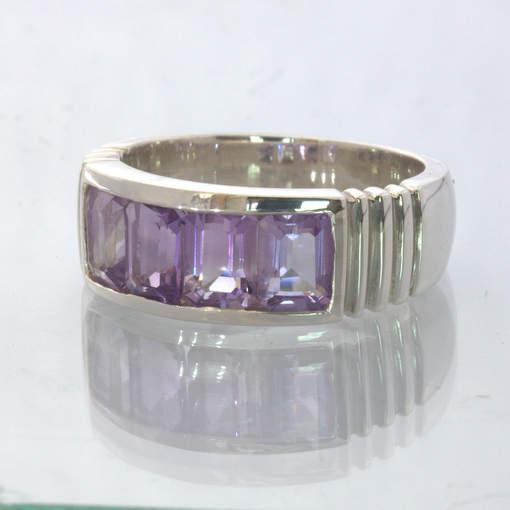 Amethyst Purple Lavender 925 Silver Unisex Channel Set Ring size 10.75 Design 6