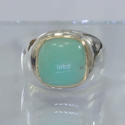 Australian Blue Opal Handmade Silver 18K Gold Gents Ring size 10.25 Design 52