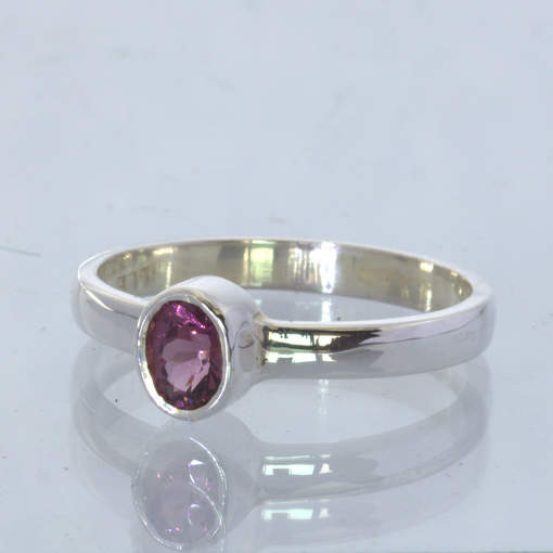 Pinkish Purple Burma Spinel Silver Stacking  Ring size 7.5 Stackable Design 530