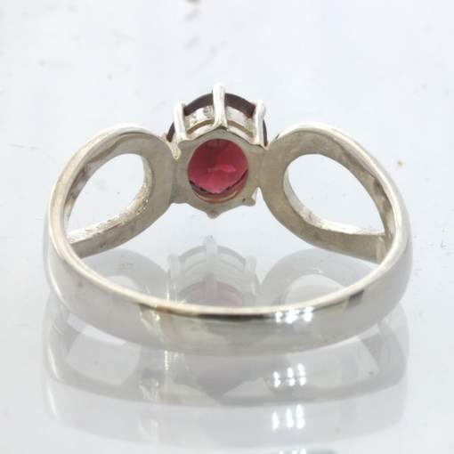 Red Orange Burma Spinel Silver Solitaire Ring size 8.5 Ajoure 8 Prong Design 532