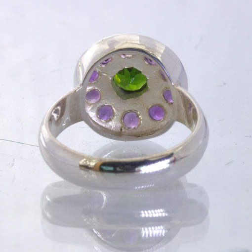Green Chrome Diopside Purple Amethyst Handmade Silver Ring size 8.75 Design 12