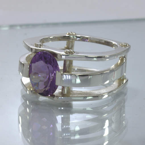 Purple Amethyst Handmade Silver Gents Mechanical Style Ring size 11 Design 502