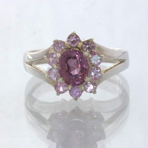 Raspberry Burma Spinel Ceylon Pink Sapphire Halo Silver Ring size 7.5 Design 54