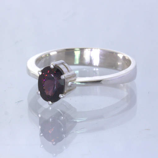 Black Purple Burma Spinel 925 Silver Solitaire Stacking Ring size 8.5 Design 432