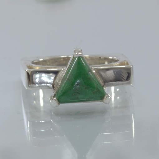 Green Burma Mawsitsit Trillion Handmade Silver Square Ring size 10.5 Design 152