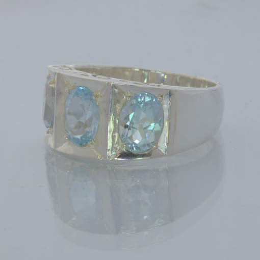 Light Blue Topaz Ovals Handmade Silver Gents Filigree Ring size 10.25 Design 430