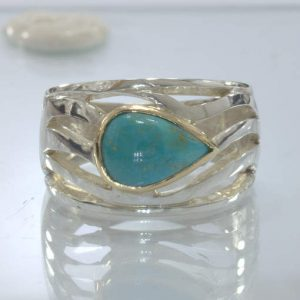 American Turquoise 925 Silver 18K Yellow Gold Unisex Ring size 9.75 Design 534