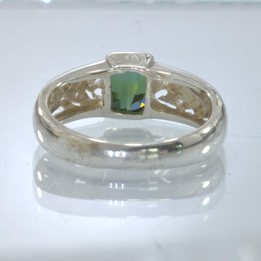 Green Tourmaline White Sapphire Handmade Silver Ring size 9.75 Ajoure Design 89