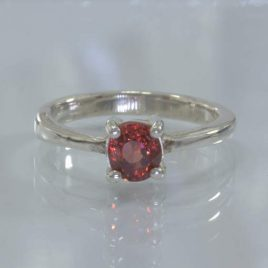 Red Spinel Burma Gemstone Handmade Silver Solitaire Ring size 7.25 Design 121