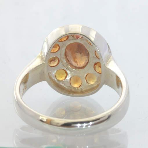 Orange Sapphire Fanta Gems Handmade 925 Silver Ladies Halo Ring size 7 Design 12