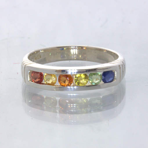 Rainbow Multi Color Party Sapphire Handmade Silver Unisex Ring size 8.5 Design 6