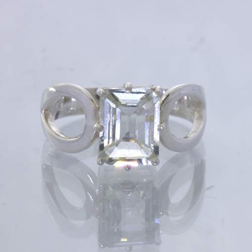 Clear White Quartz Gem Rectangle Silver Ring size 7 Stackable Ajoure Design 532