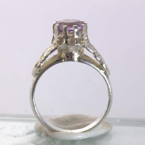 Purple Amethyst Handmade 925 Silver Statement Ring size 7 Angel Flower Design 34