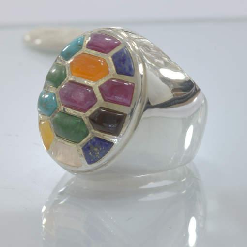Mosaic Inlay All Natural Gemstones Handmade 925 Silver Ring size 10 Design 543