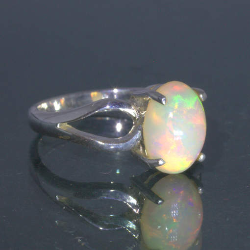 Welo Opal Colorful Oval Cabochon Handmade 925 Silver Ring size 6 Ajoure Design 7